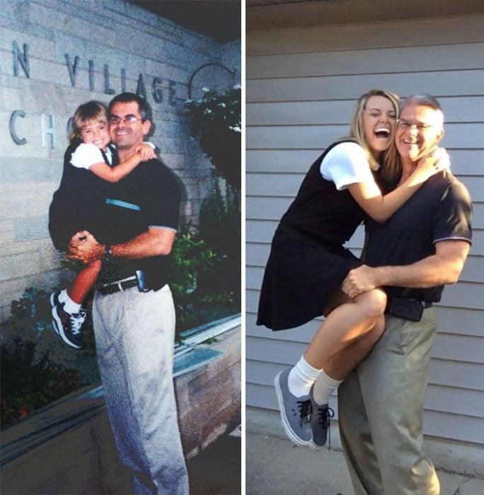 Chica el primer día de clases del kinder en los brazos de papá y después en los brazos de papá en su último día de la universidad