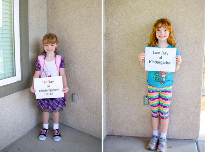 Niña el primer día de clases en el kinder vs. el último día en la primaria