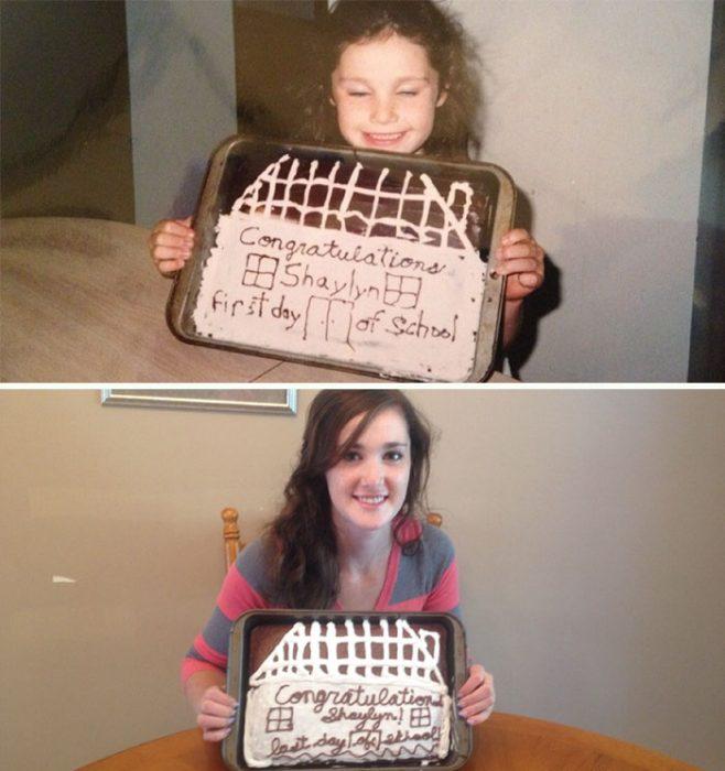 Chica sosteniendo un pastel el primer día de clases cuando era niña, y después sosteniendo un pastel similar el último día de clases