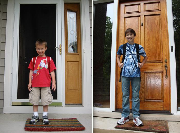 Chico el primer día de clase vs el último día de clases