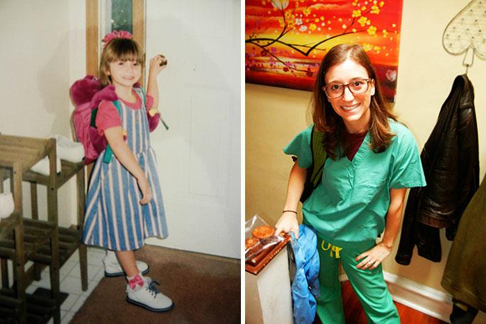 Chic el primer día de clase en el kinder, vs. su último día de clase en la escuela de medicina