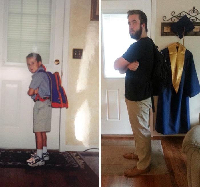 Chico el primer día de clases de la primaria vs el último día de clases de la universidad