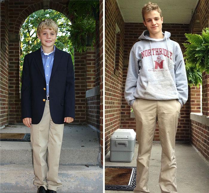 Chico el primer día de clases en la escuela vs. el último día de clases