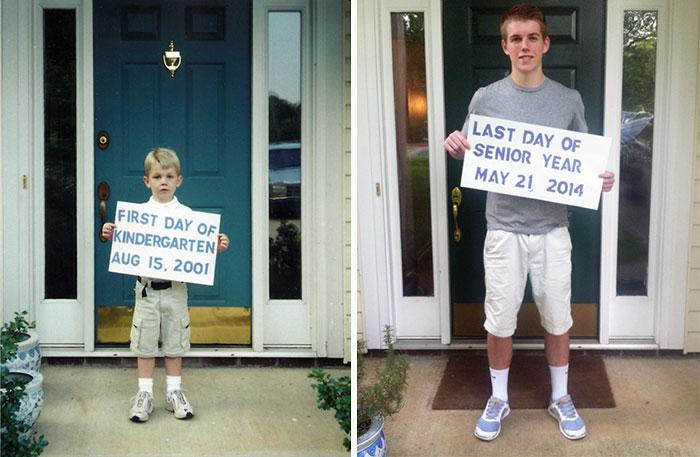 Chico sosteniendo un cartel el primer día de escuela vs. el último día de escuela