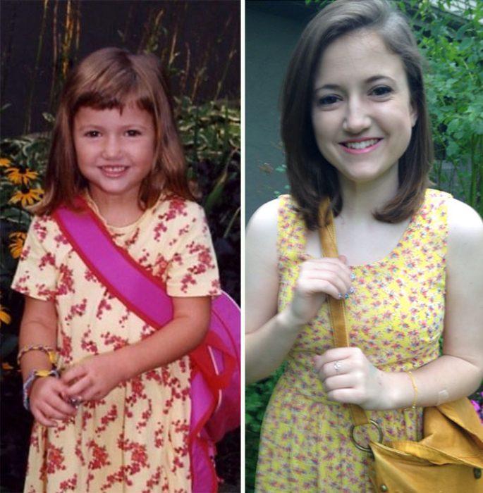 Chica el primer dia de escuela primaria vs. el último día de escuela secundaria