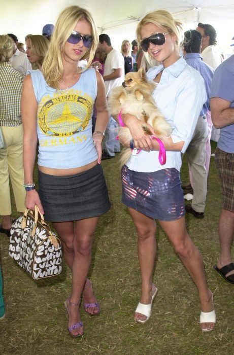 women with denim mini skirts