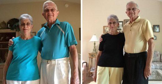 Después de 52 años de matrimonio estos abuelos siguen siendo románticos y combinan su atuendo todos los días