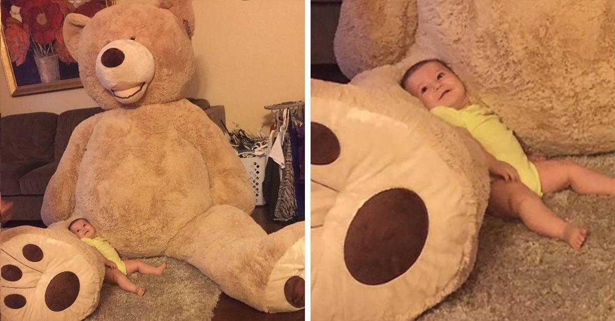 El amor de los abuelos no tiene precio... ni tamaño, por eso él compró un oso gigantesco a su nieta de 5 meses