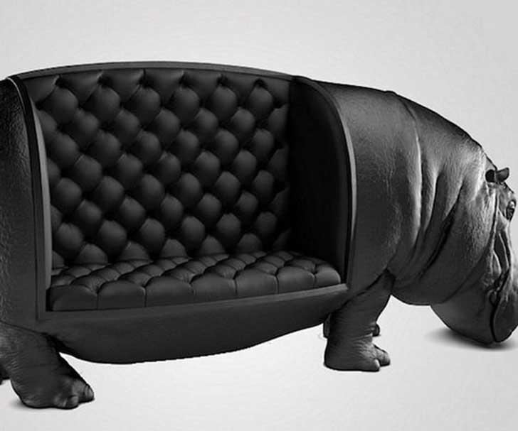 sillon en forma de hipopotamo