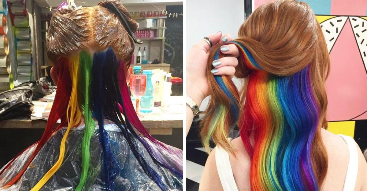 Las chicas están enloqueciendo con la nueva tendencia en Instagram: ¡El cabello arcoíris oculto!