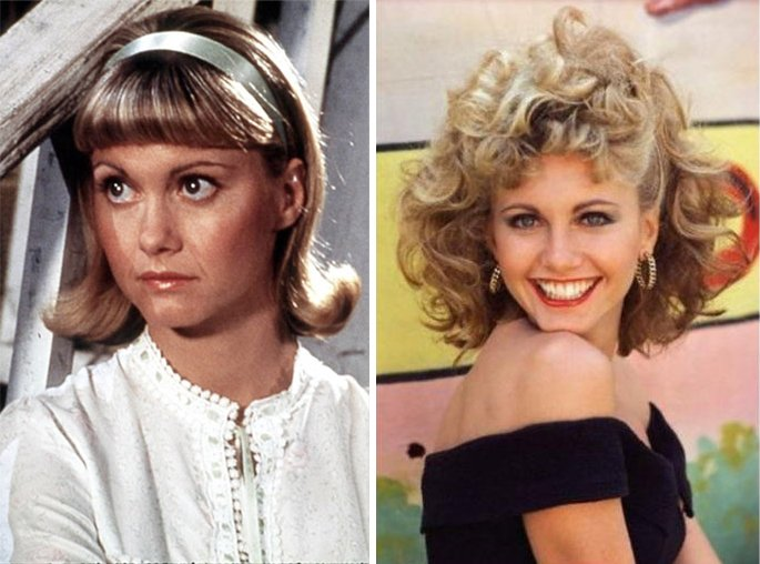 Actriz protagonista de Grease antes y después.