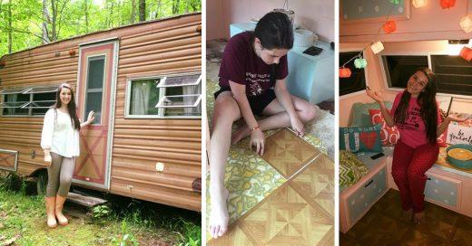 Una chica de 14 años transforma un viejo camper con sus propias manos