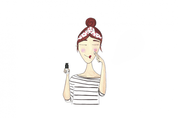 Ilustración de mujer aplicando Sérum.