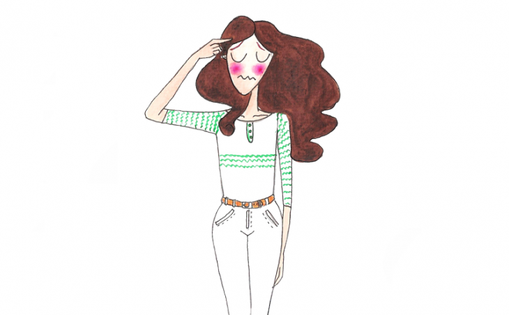 Ilustración de joven apuntando a su cabeza.