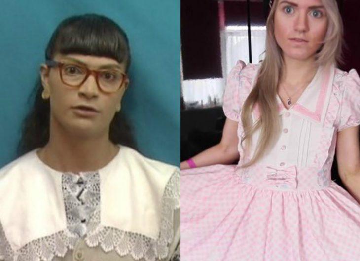 mujer con vestido de holanes rosa y mujer con flequillo y lentes