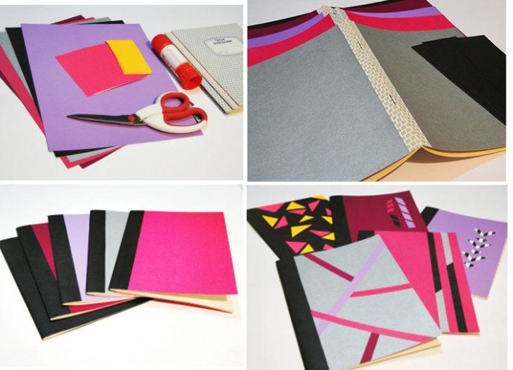 Libro decorado con figuras geométricas.