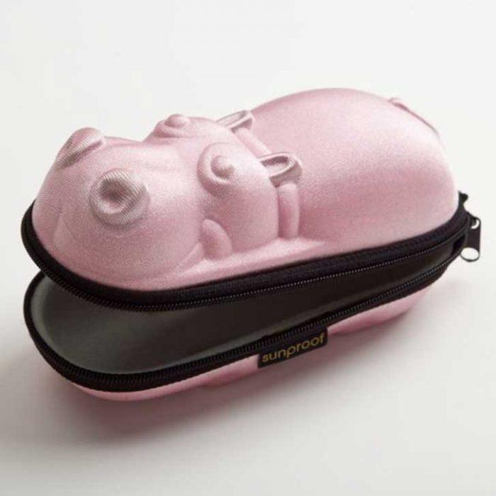 estuche de lentes en forma de hipopotamo