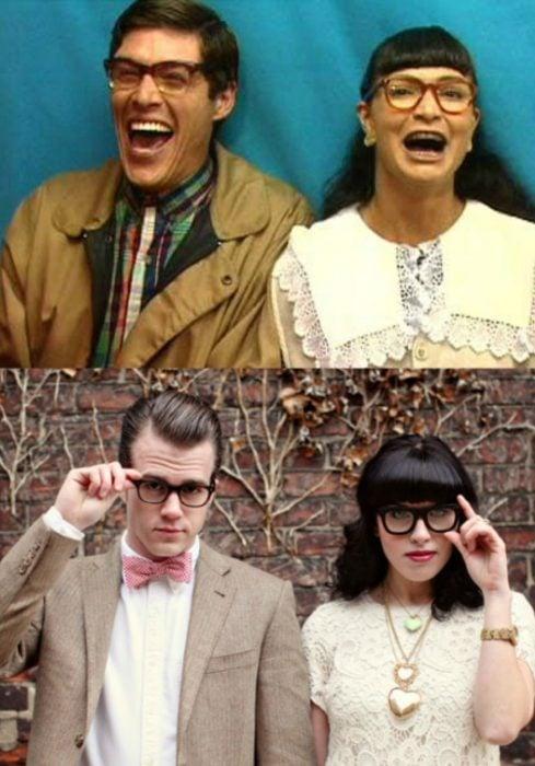 pareja de hombres y mujeres con lentes