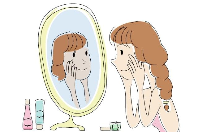 Ilustración de mujer viéndose al espejo.