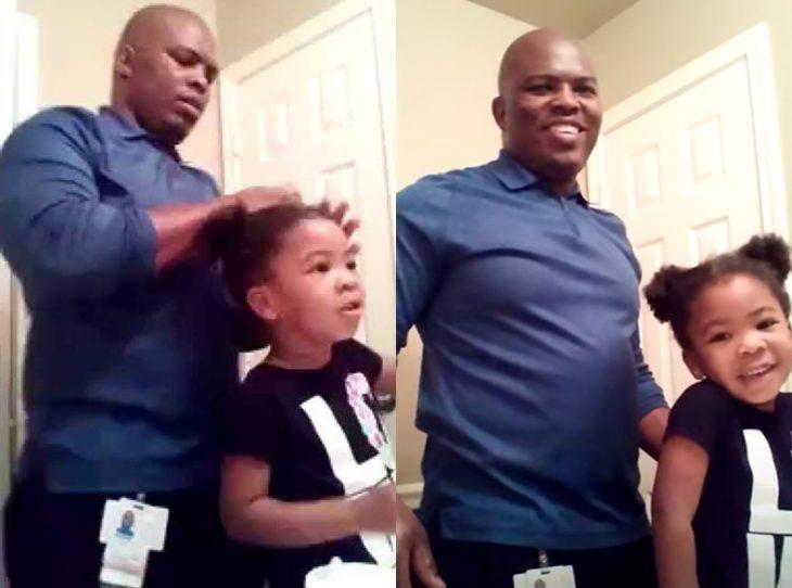 Imágenes del famoso video mientras Culpepper peina a su hija.