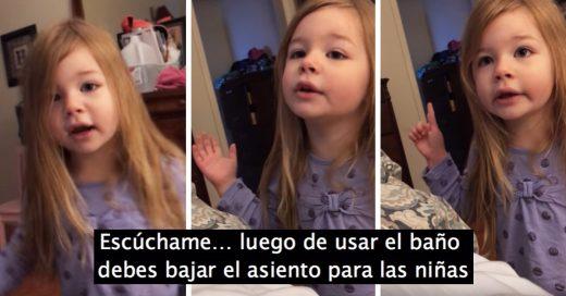 No baja la tapa del baño y su pequeña hija le da un gran sermón