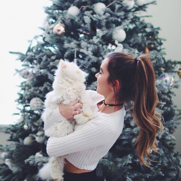 mujer de cabello largo abrazando a gato en arbol de navida
