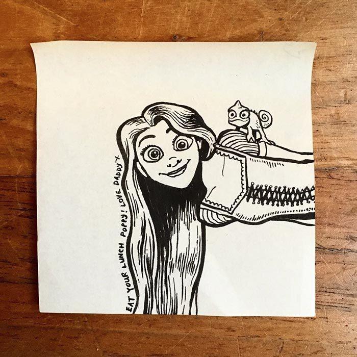 Dibujo de enredados creado por un padre para su pequeña hija