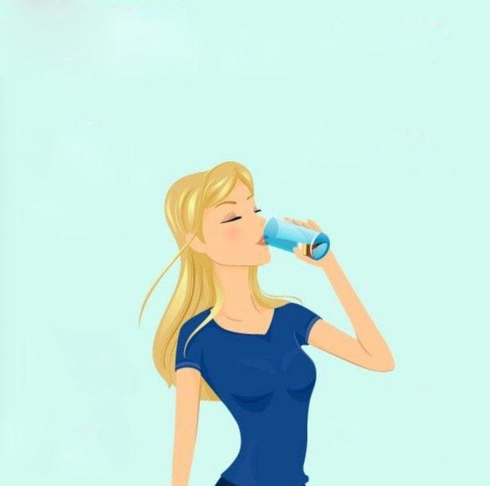 Ilustración de mujer tomando agua.