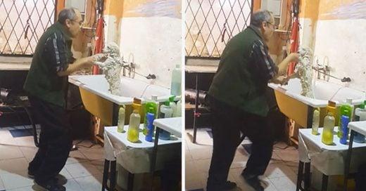 Este peluquero de perros fue captado dando un baño muy peculiar a su cliente