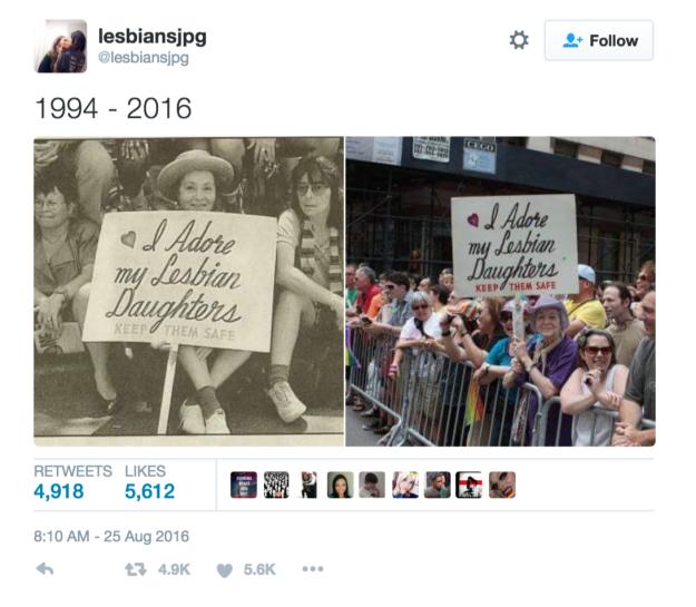 mujer con mismo cartel en manifestación antes y después twitter
