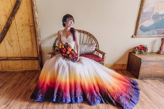 La novia durante la sesión de fotos.