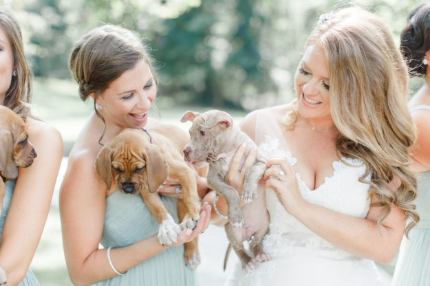 Girls with their puppies in the arms.