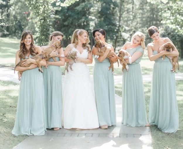 La novia y sus damas en la sesión de fotos de la boda.