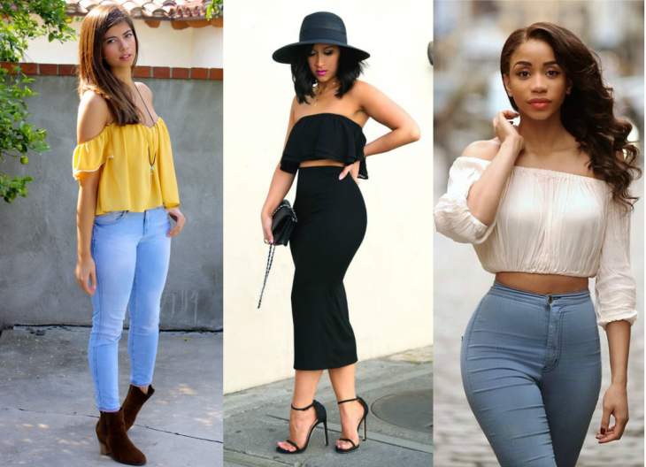 three styles of shoulder blouse