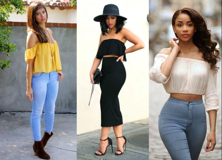 tres estilos de blusa sin hombros
