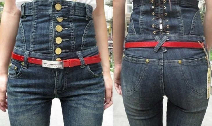 waist jeans with many buttons