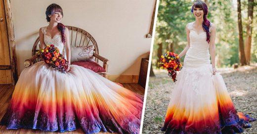Esta novia le añadió colorido a su vestido y el resultado es adorable