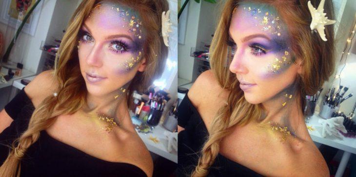 chica rubia con maquillaje de sirena