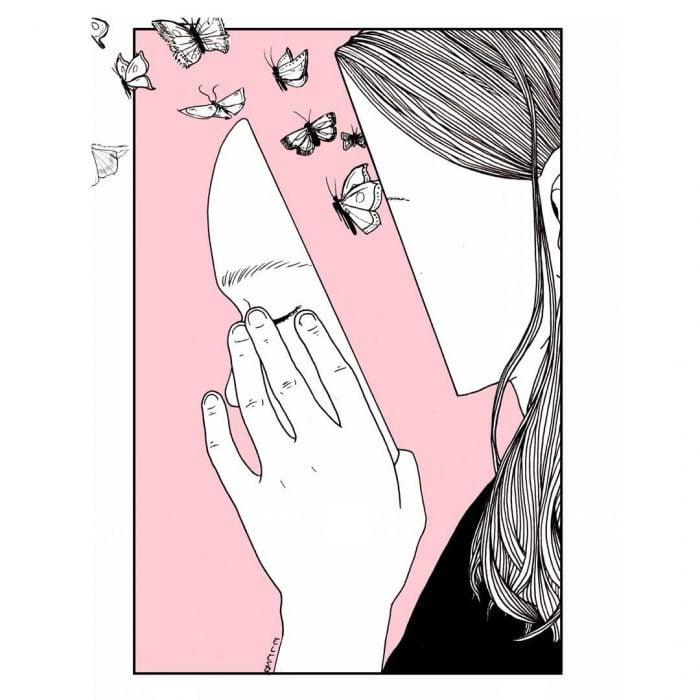 Muchacha le salen mariposas de la cara.