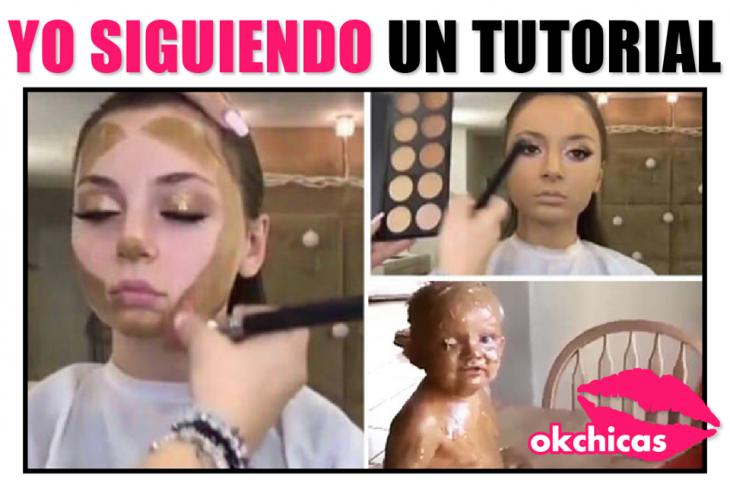 Mujer siguiendo tutorial de Youtube.