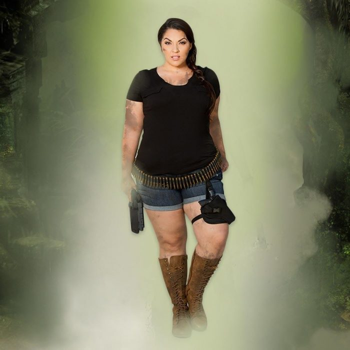 woman with costume lara croft
