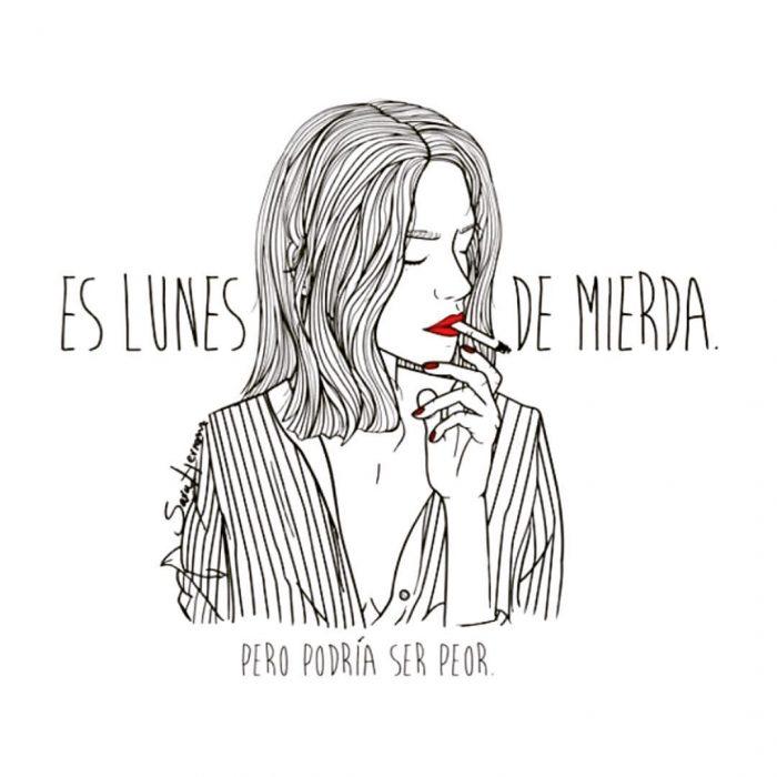 Ilustración de mujer fumando.