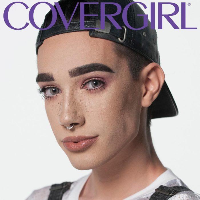 hombre con gorra maquillado covergirl