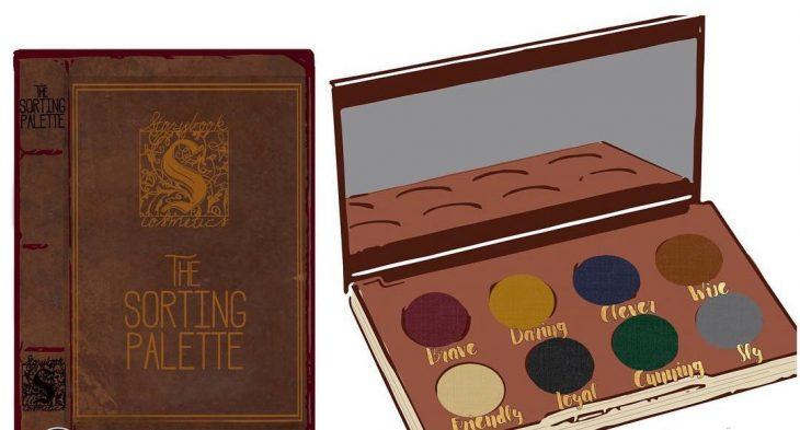 libro y paleta de maquillaje