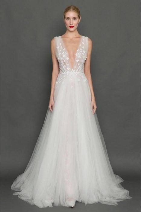 Diseño de vestido de novia de Francesa Miranda.