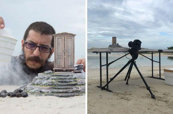 fotógrafo con maqueta a escala