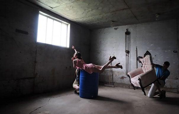 levitating girl on dairy farm