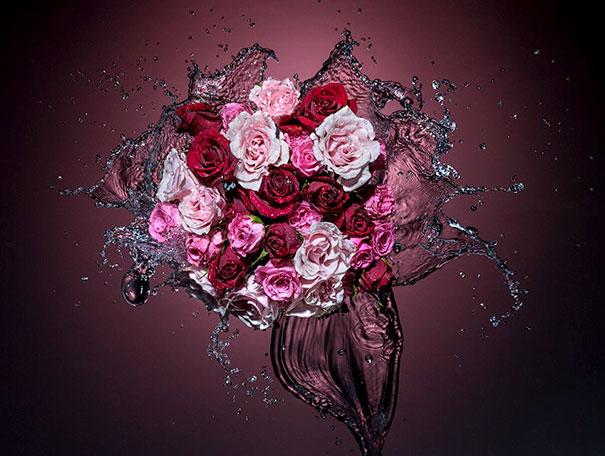 arreglo de flores con agua