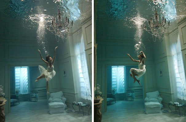 girl floating in water inside a house
