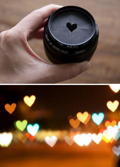 filtro para lente forma de corazón y paisaje con luces de corazones